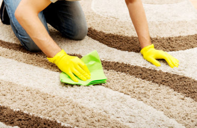 55797128 - man in yellow gloves cleaning carpet.
