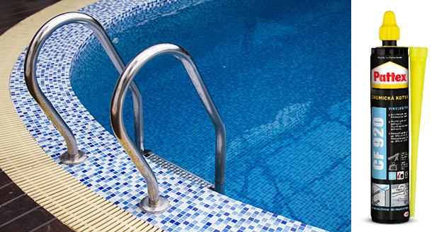 Grab bars ladder in blue swimming pool